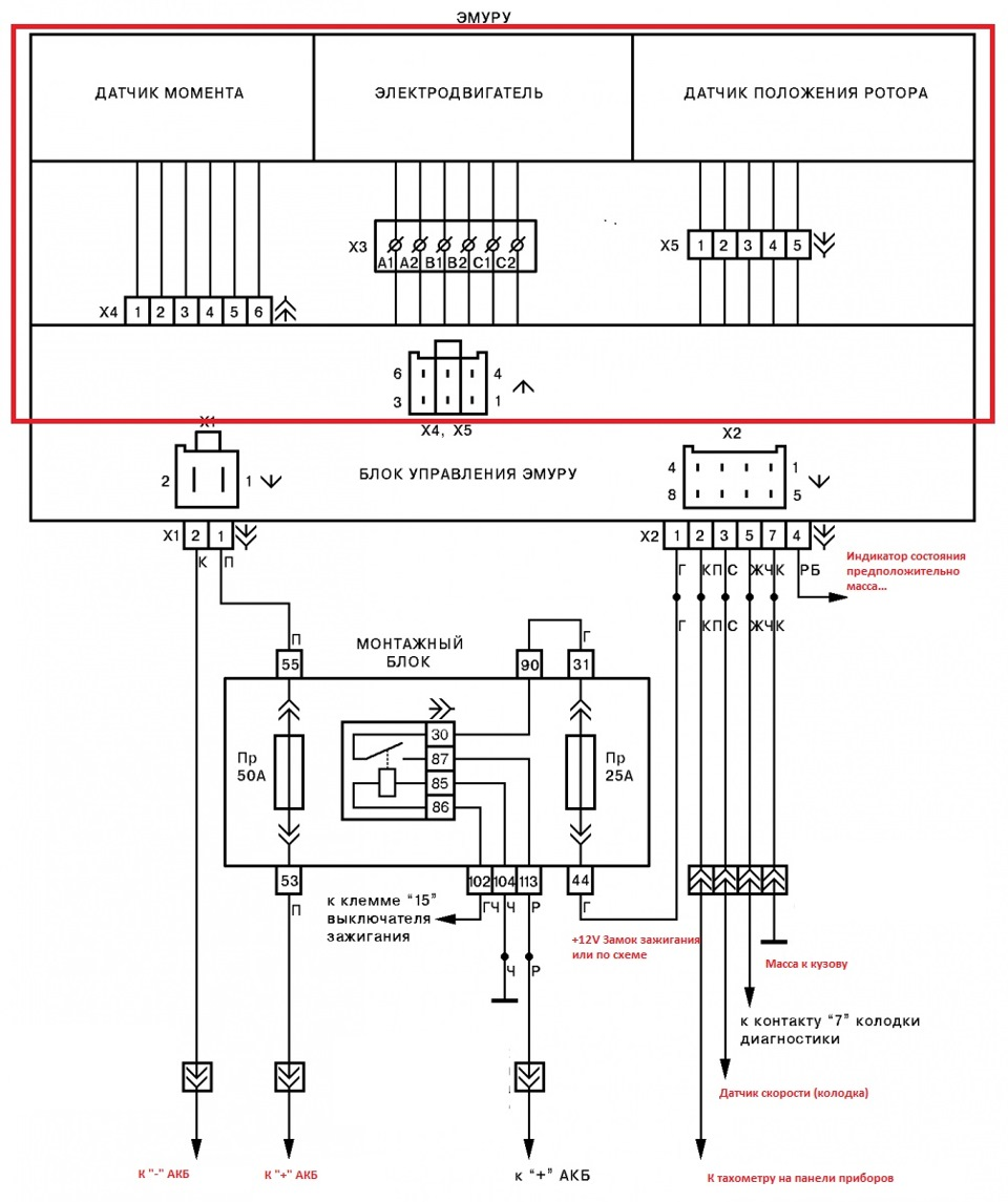 Схема подключения эур приора 371