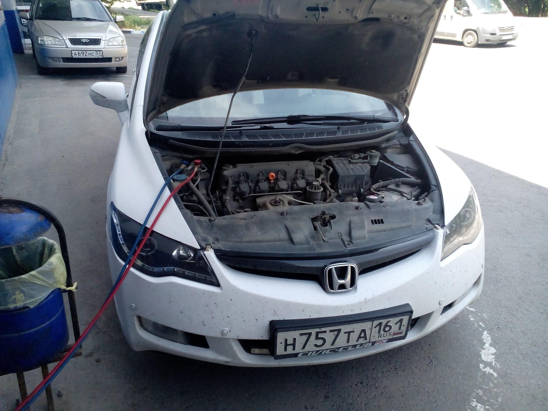 заправка кондиционера автомобиля honda civic ek