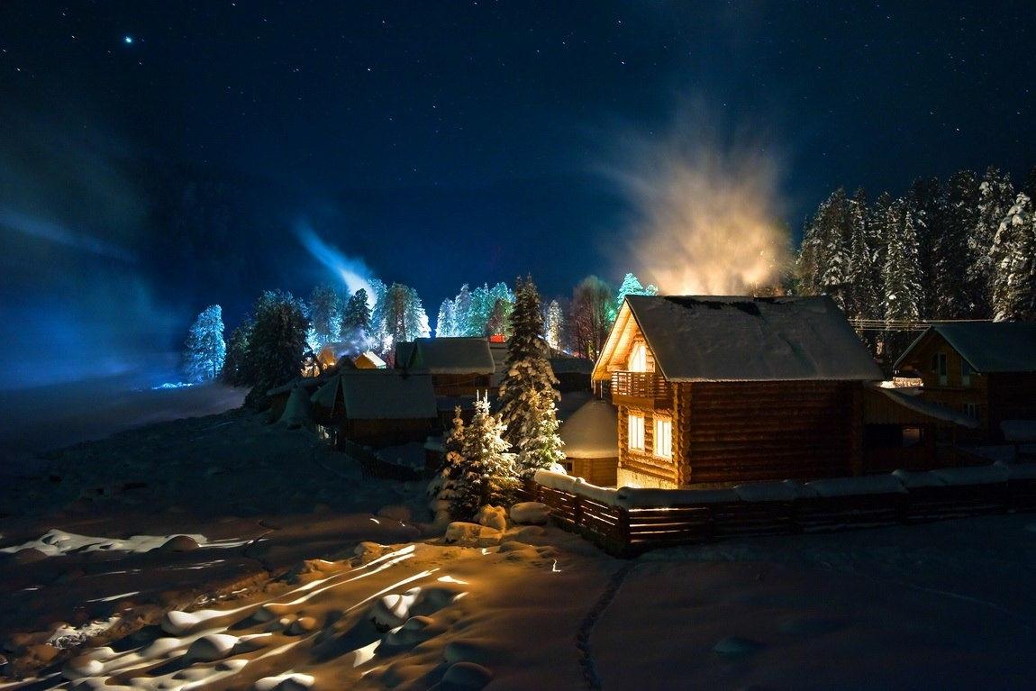 поможем вас сказочный зимний вечер фото ночью, при зажженной