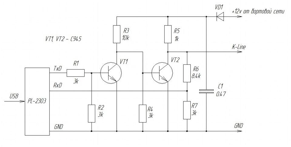 Схема к-l адаптера usb