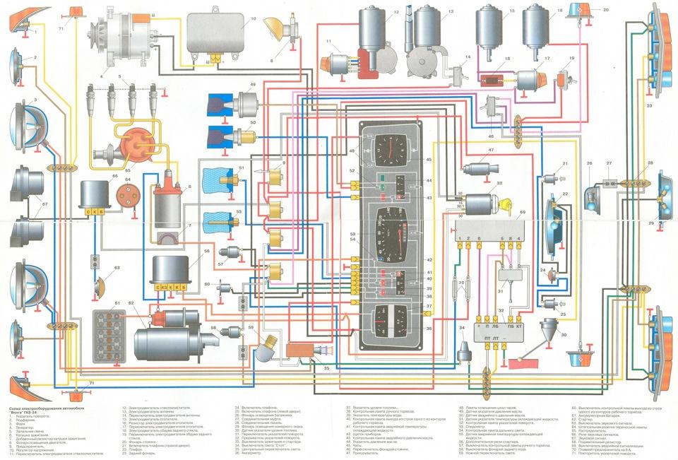 Электрическая схема ГАЗ 24