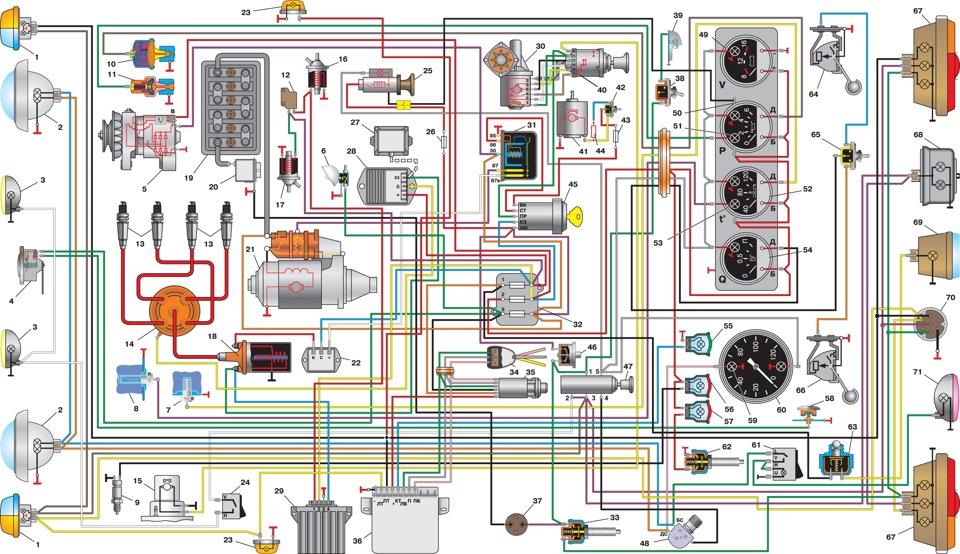 Электрическая схема уаз 3303 старого образца