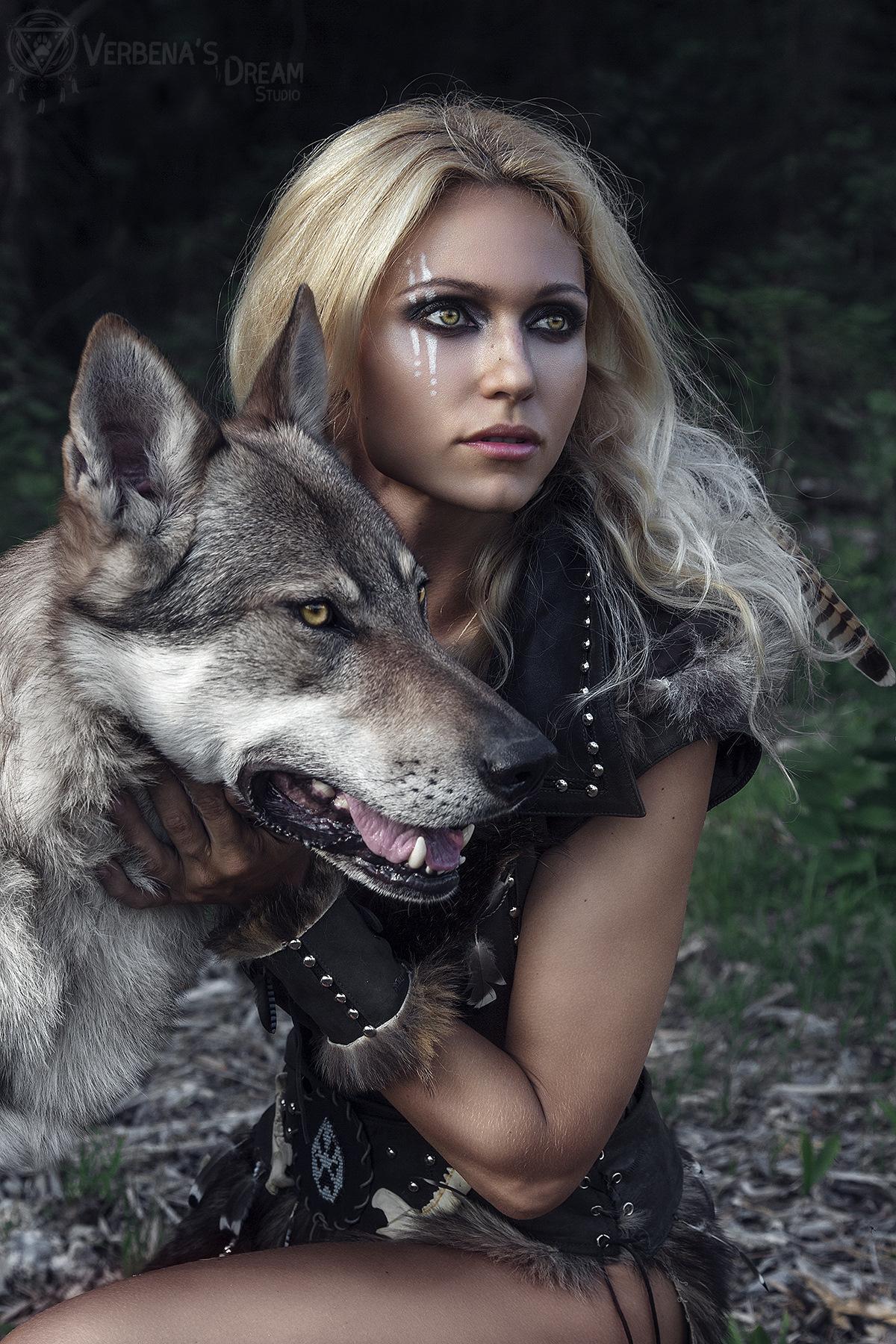 Картинки волк с девушкой