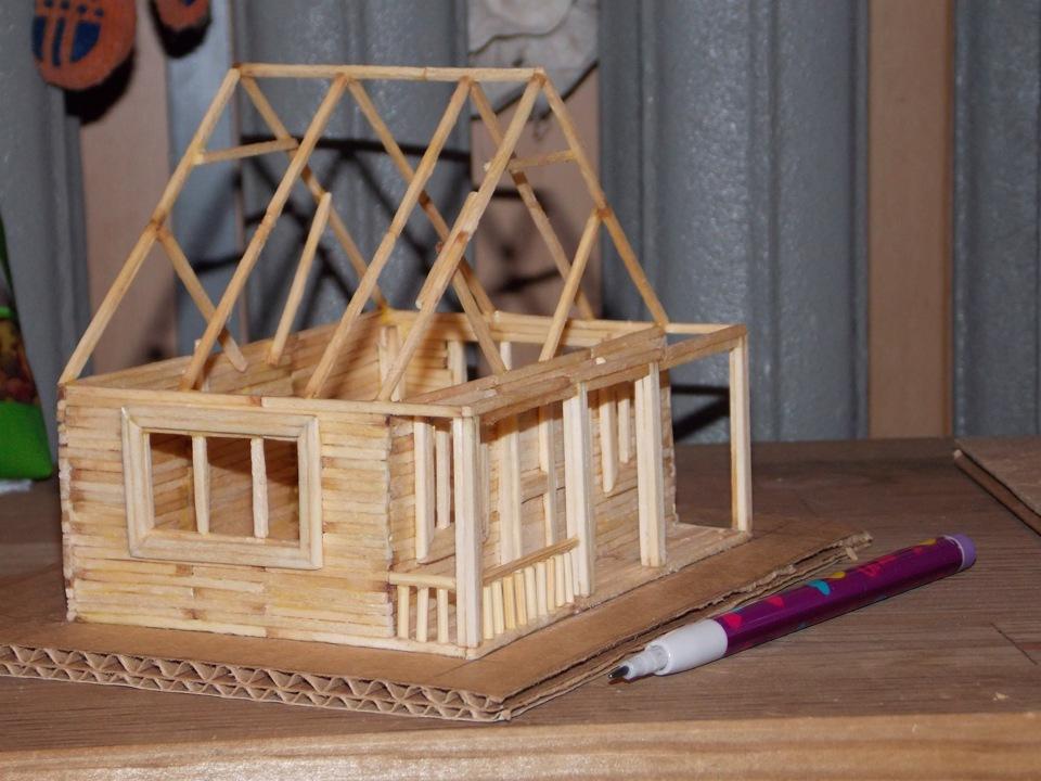 как делать домик из спичек в картинках