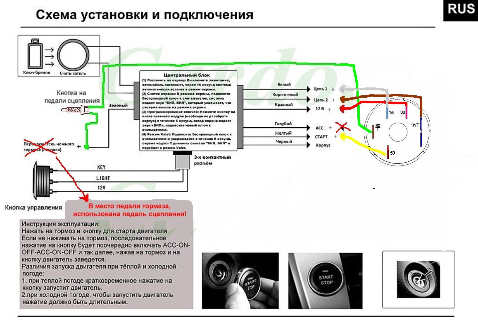 Схема подключения кнопки старт стоп на русском фото 805