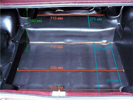Размеры багажника ВАЗ 2107