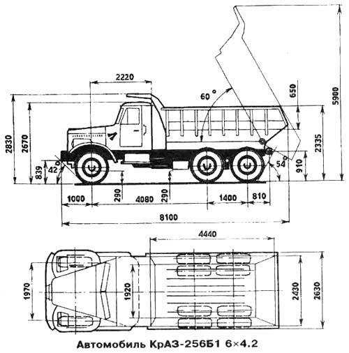 ...коробка передач, главная передача, рулевое управление, электрооборудование - см. Автомобиль КрАЗ-256Б1.