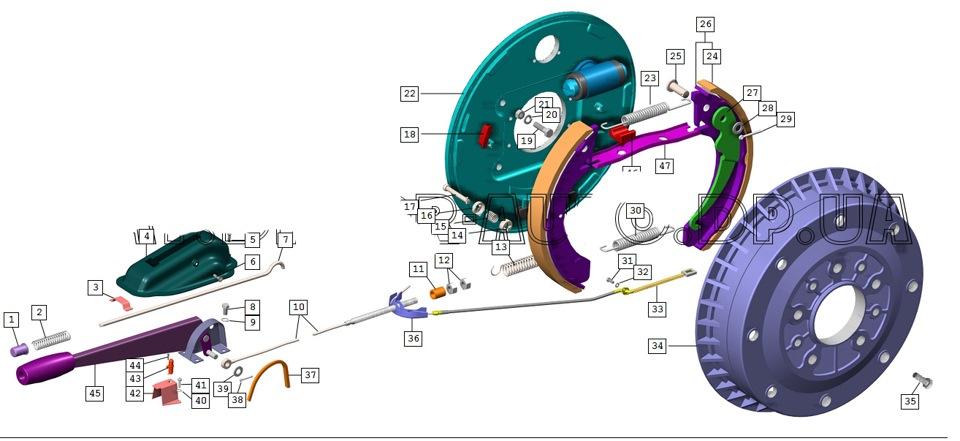 Схема Тормоза задние и привод
