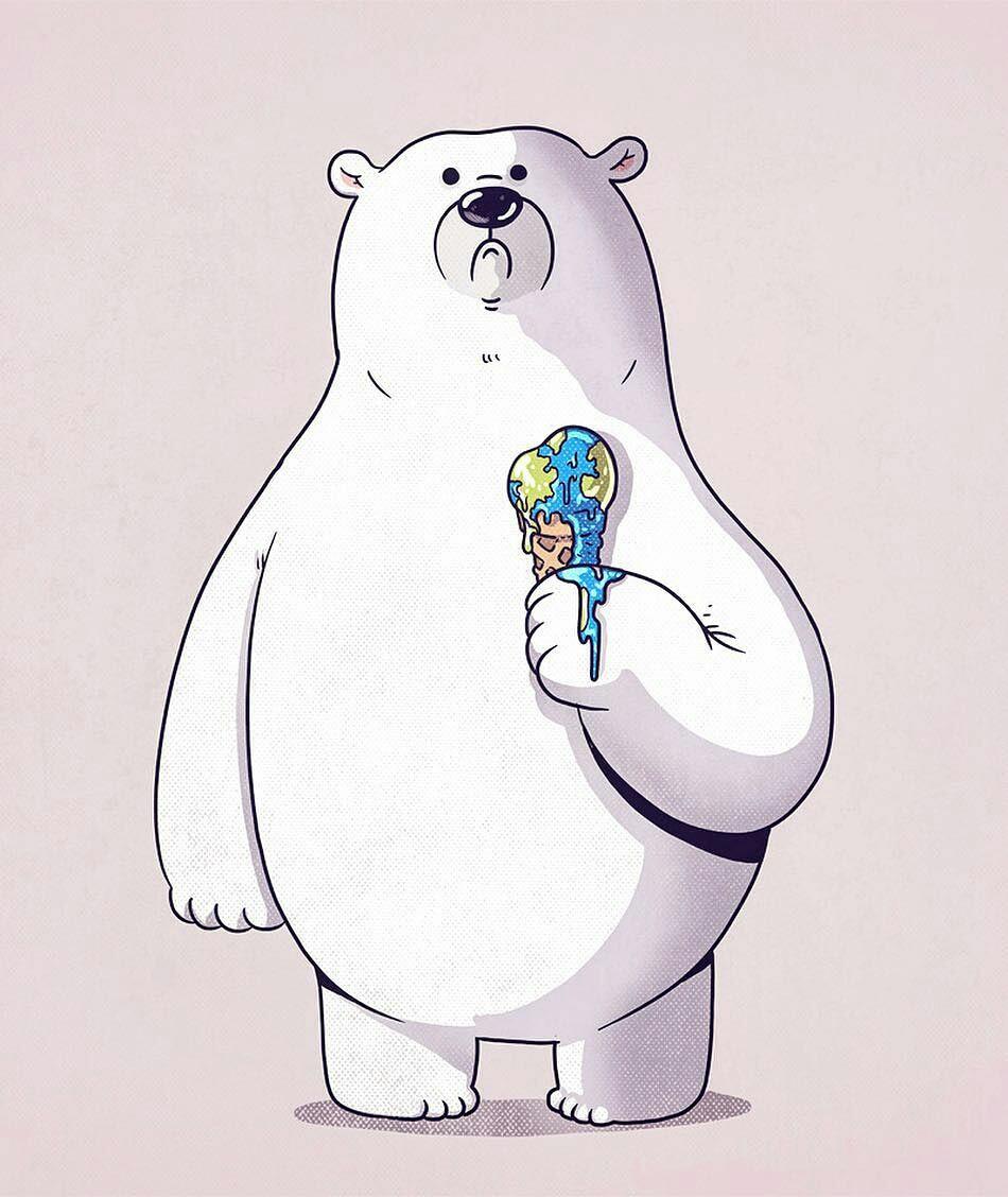 Рисованные, рисунки белого медведя смешные