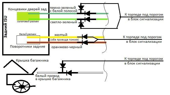 Цепляем провода по схеме через