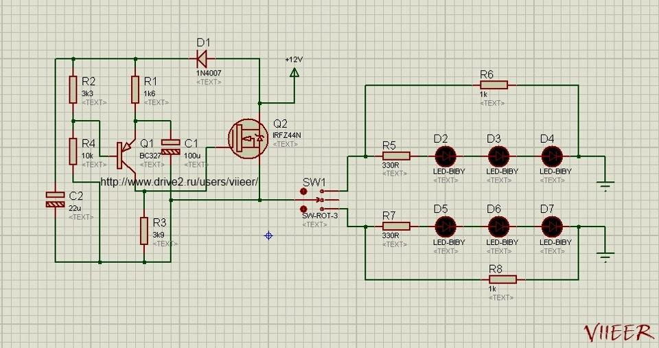 Схема повторителей поворотов на светодиодах