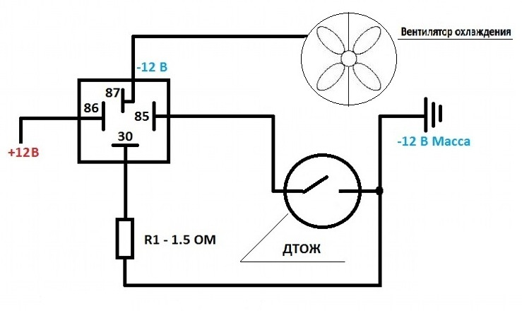 Вентилятора охлаждения схема
