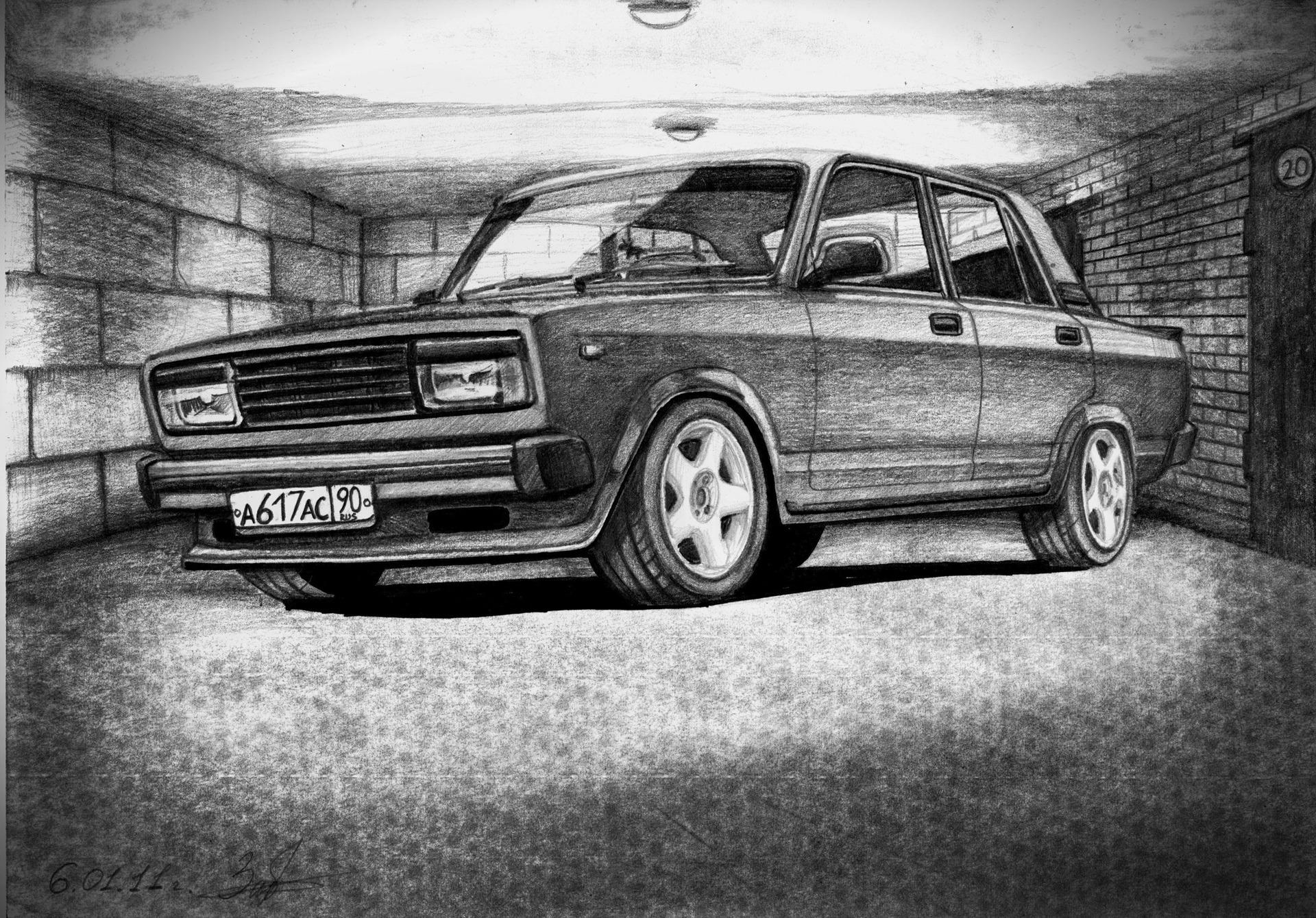 рисунки машин простым карандашом:
