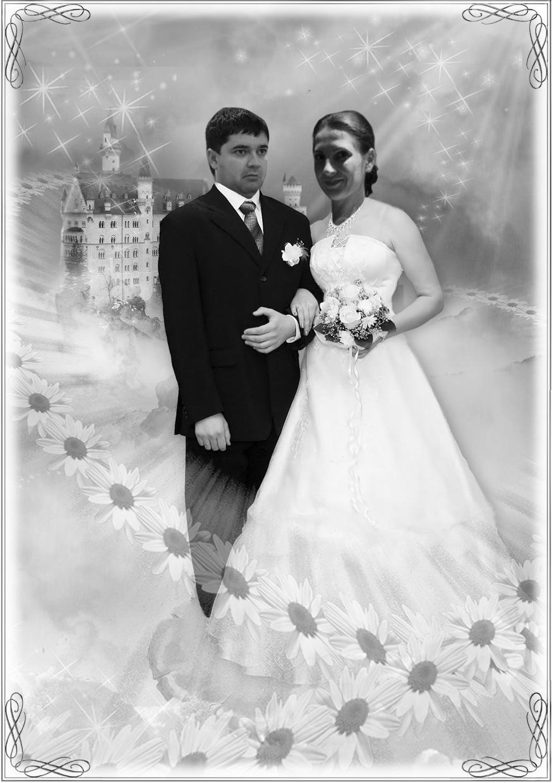 фотомонтаж свадебных фотографий ружья