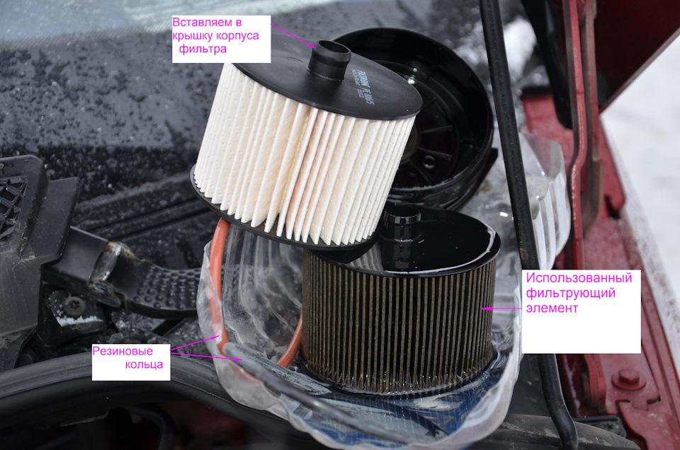 Разница видна :). Фильтрующий элемент вставляется в крышку с усилием. На верхней части фильтрующего элемента есть патрубок около 1 см. Этот патрубок вставляется в крышку фильтра.