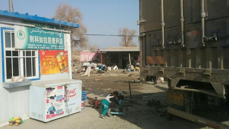 Типичный уйгурский поселок на границе пустыни