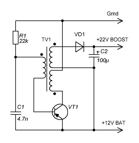1 транзистор — и вот вам 22В.