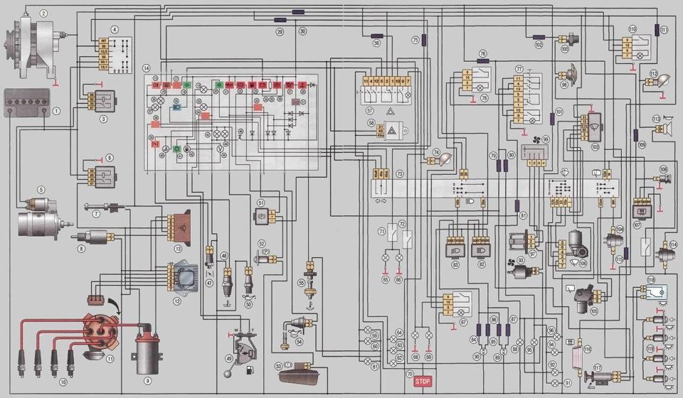Схема электрооборудования таврия 1102