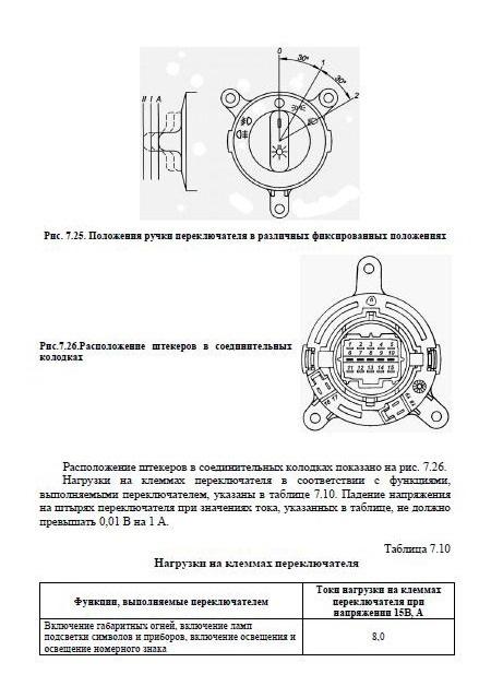 Схема центрального переключателя света 3302