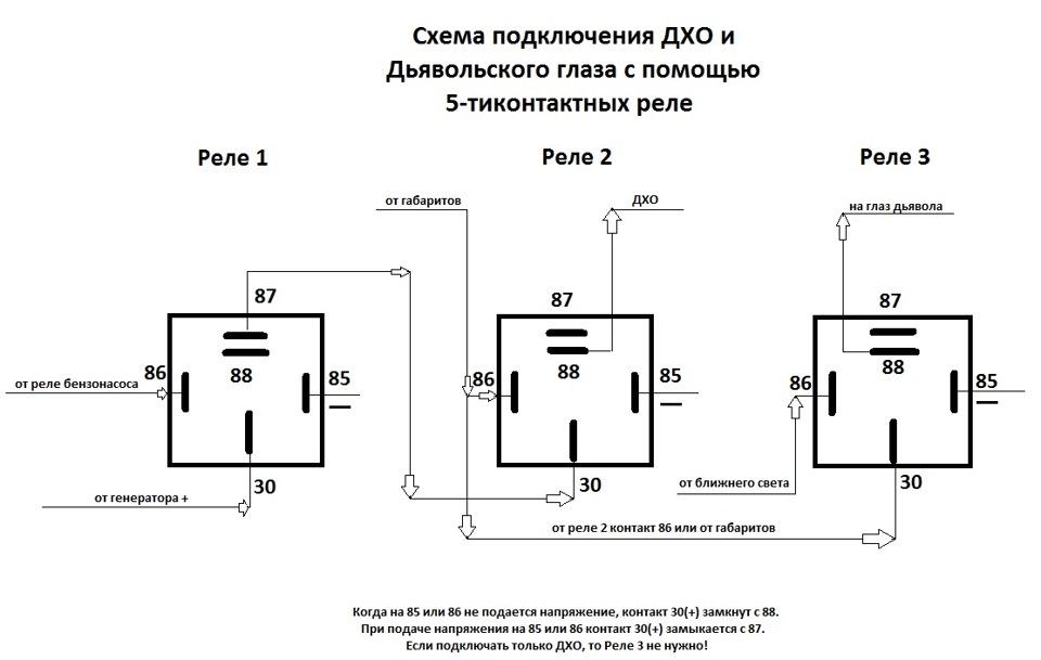 Схема подключения ДХО и
