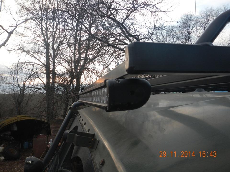 установка LED балки на багажник УАЗ
