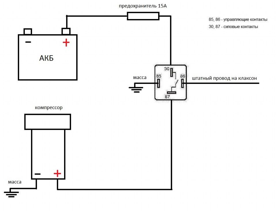 Схема подключения воздушного сигнала на приору6