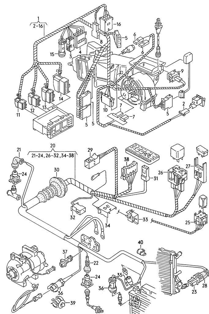 схема проводки климат контроля