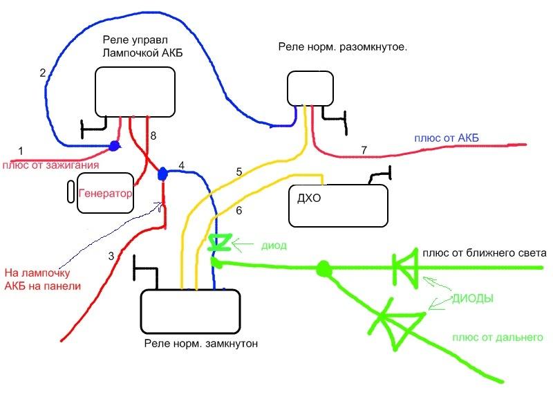 Схема подключения ДХО для