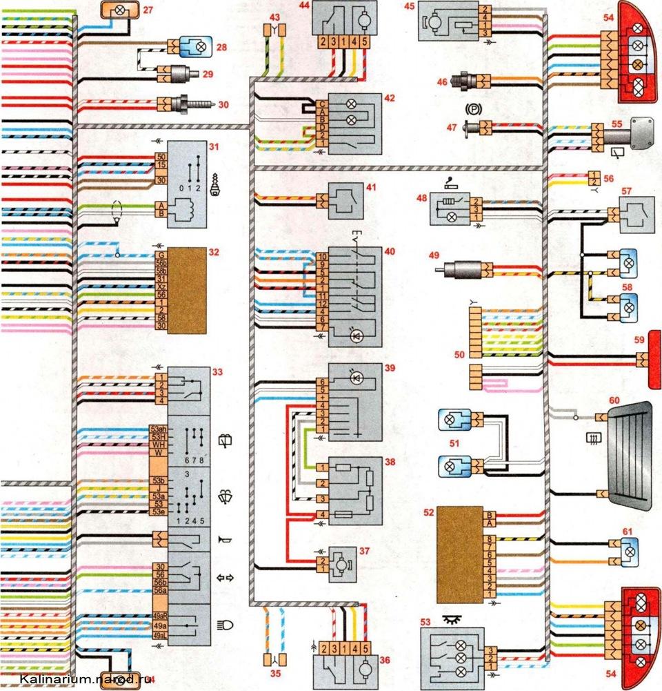 Схема электропроводки автомобиля калина