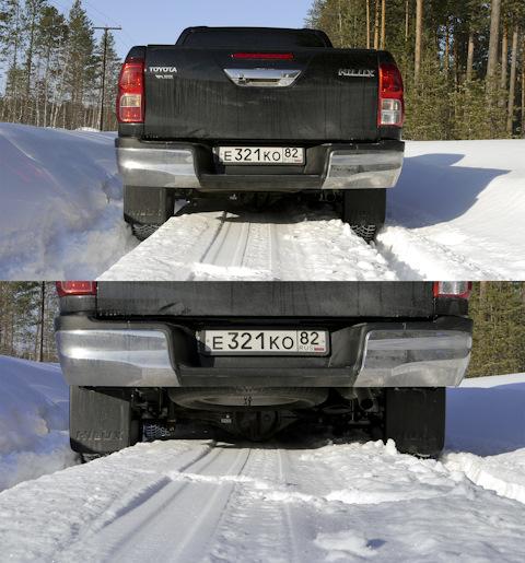 Разгребая защитой снег, машина идет очень уверенно