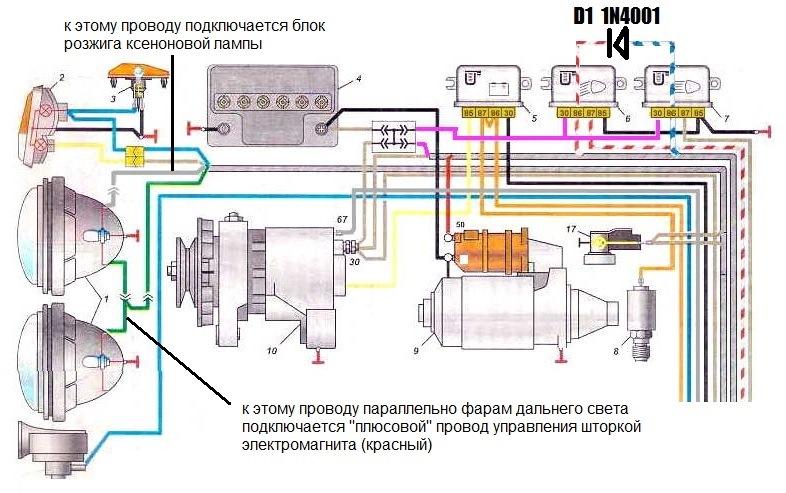 Схема подключения линз к