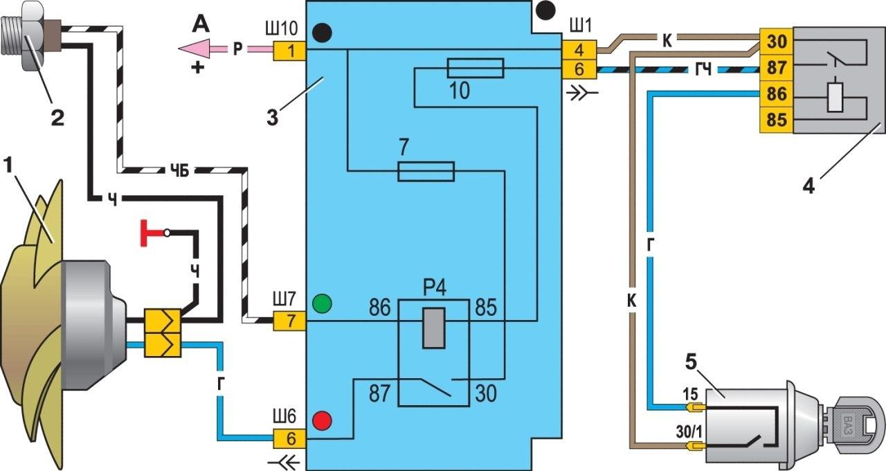 Схема управления двигателем вентилятора радиатора
