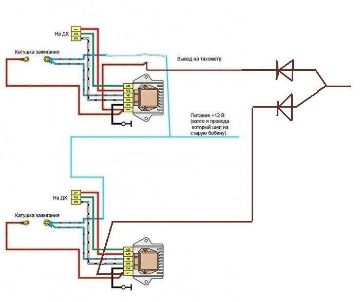 Схема проводки на 2-х датчиках