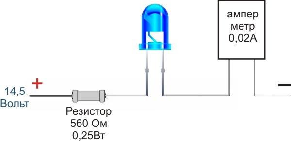 Как подключить один светодиод в авто