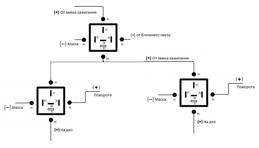 схема подключение дхо с поворотником