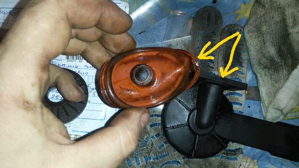 замена мембраны клапана вентиляции картерных газов