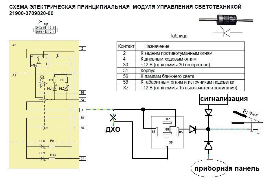 Схема подключения ДХО через