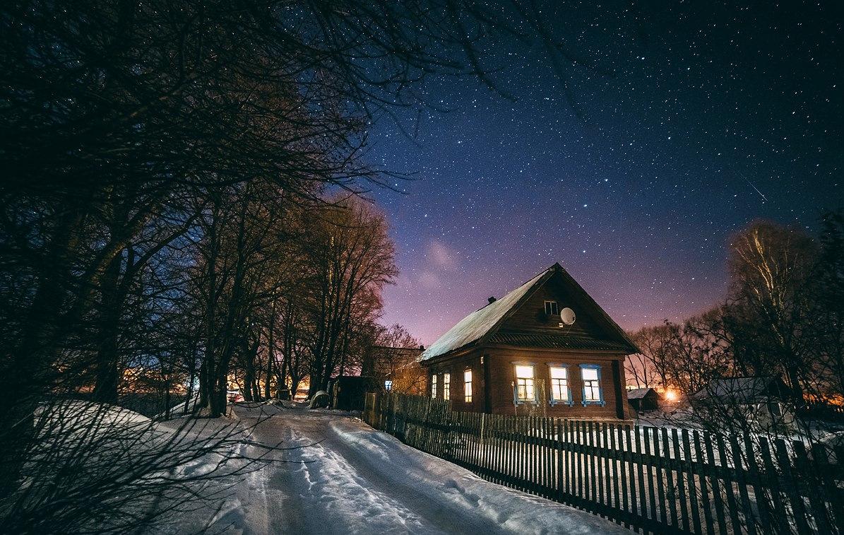 Картинки деревня зима ночь