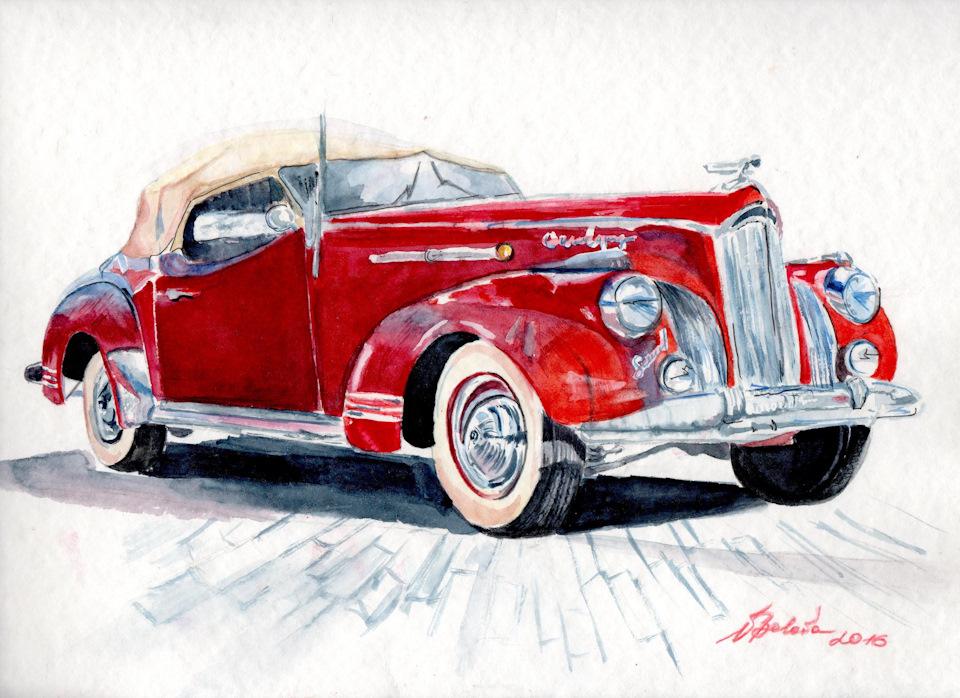 Рисованные картинки ретро автомобилей