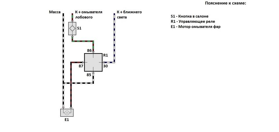 Схема работы реле омывателя