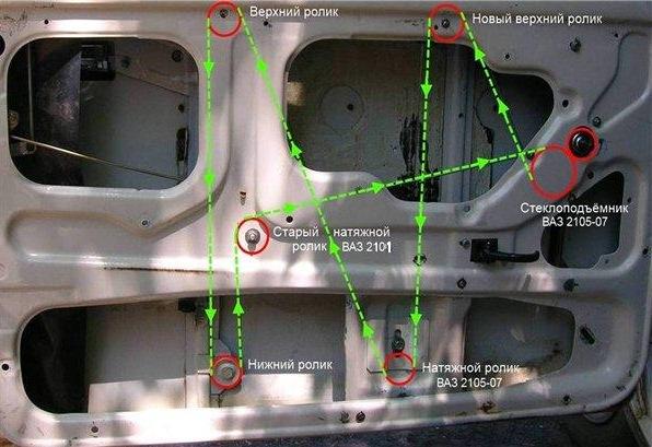 Схема замены стеклоподъемника 2107.