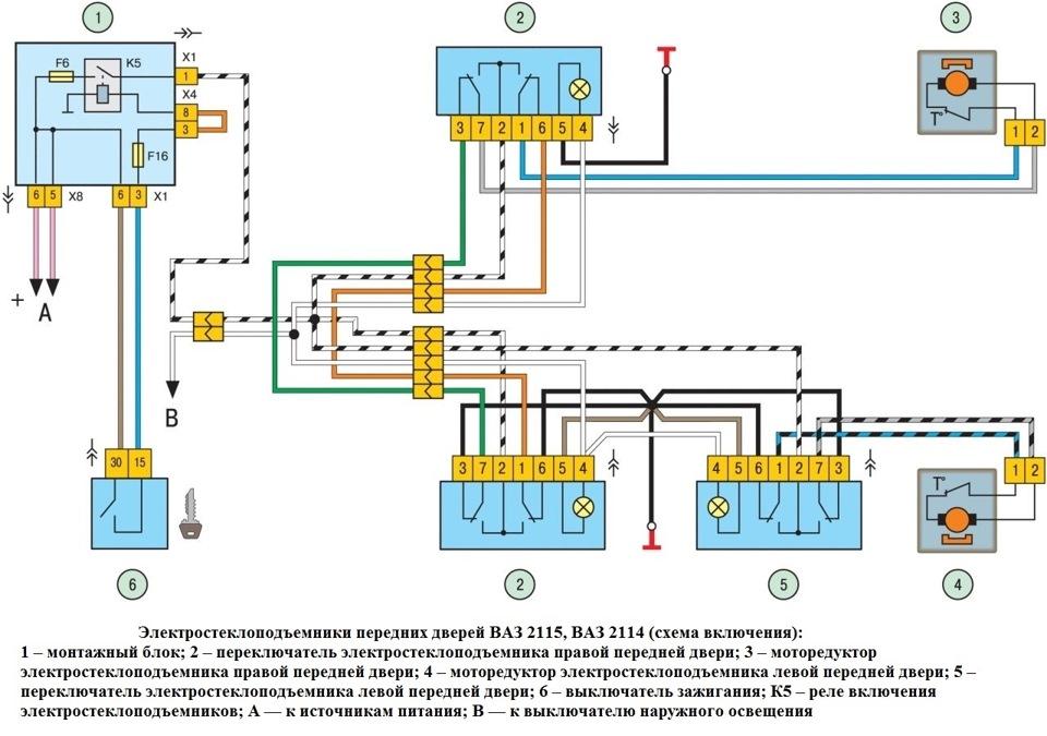 Схема подключения передних
