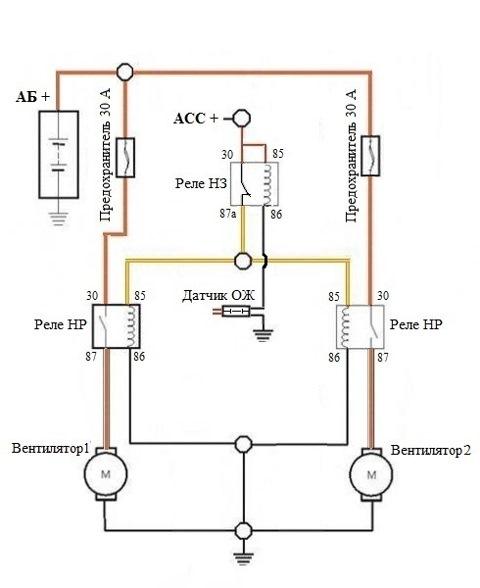 Схема подключения вентиляторов