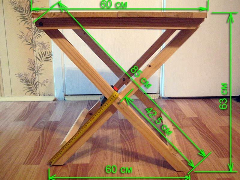 Размеры раскладного столика