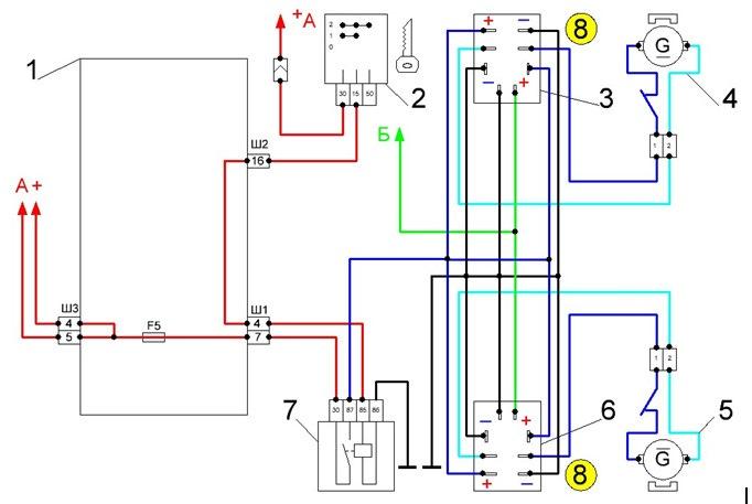 Схема включения поворотников и