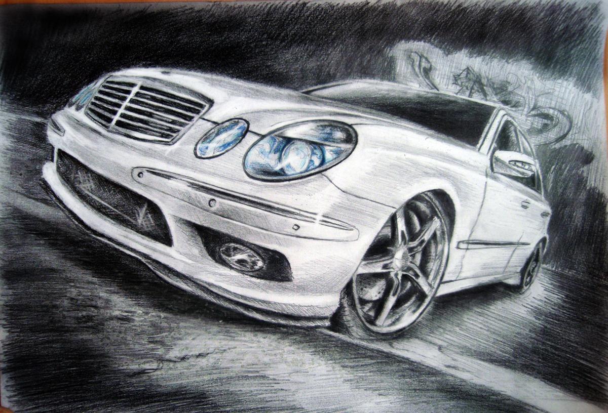 Картинки авто нарисована карандашом
