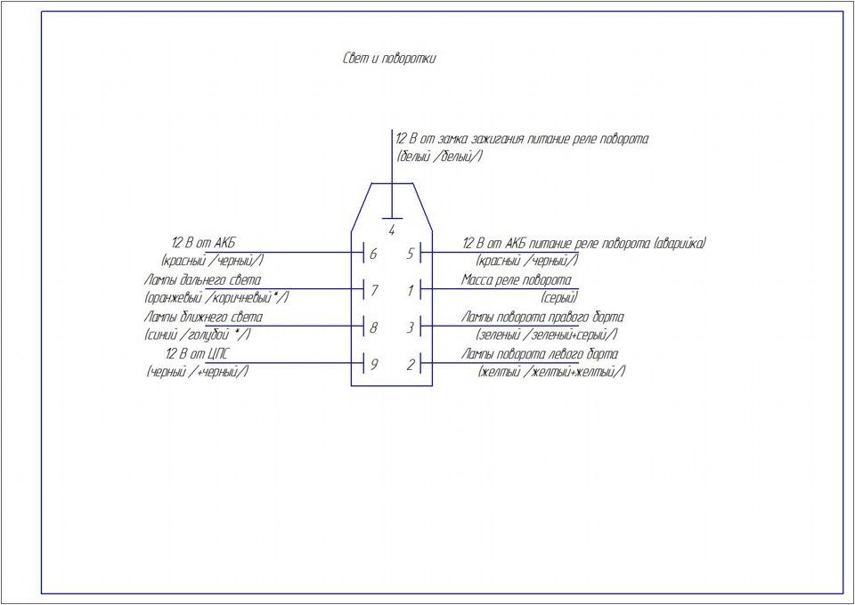 схема подключения подрулевого