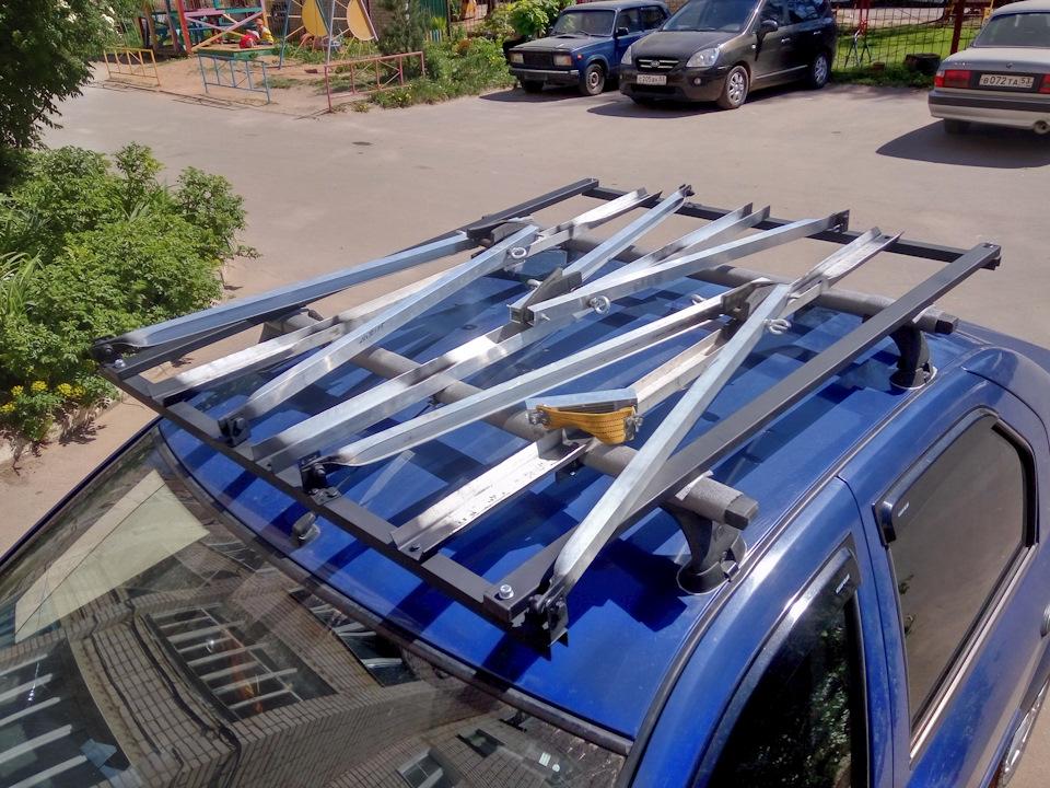 Велобагажник на крышу авто из брусков