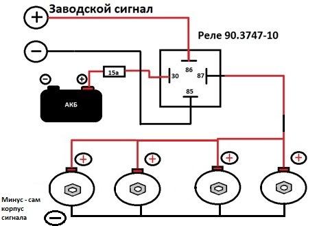 Схема подключения сигналов от