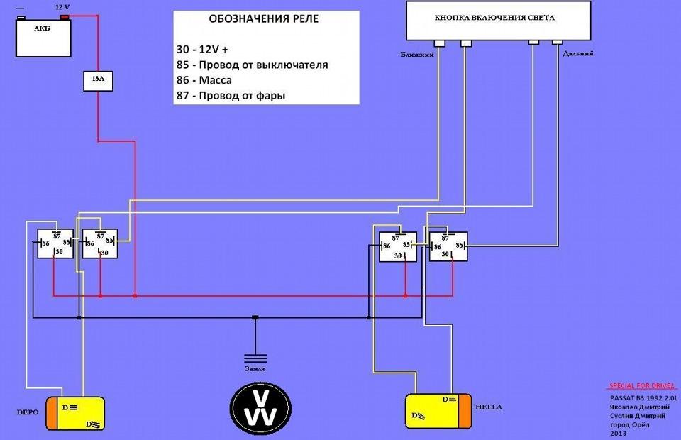 схема подключения генератора на фольксваген пассат б3